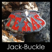 G�rtelschnalle (Buckle) TEXAS-Lone Star- Rot Silber Top Style